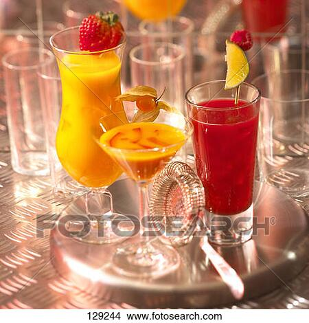 Stock photo of fruit juice cocktails without alcohol for Cocktail drinks without alcohol
