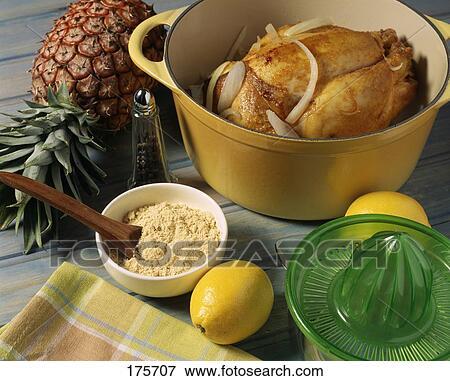 beeld het koken de hen met de pineapple lemon sap en gember 175707 zoek stock