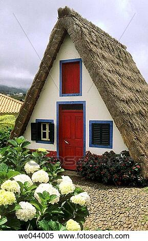 Stock bild typisch madeira styled thatched haus for Haus in madeira