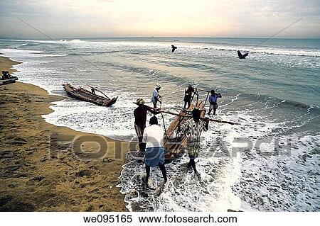 Stock image of fishermen at work marina beach bay of for Mural fish in tamil