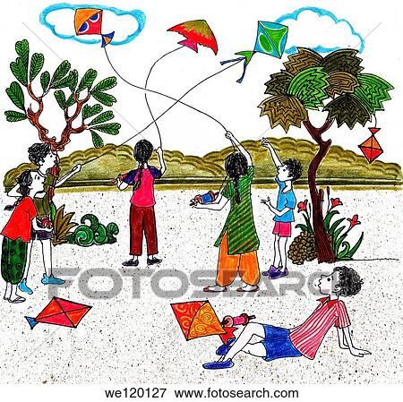 Kids flying kites on Indian independence day