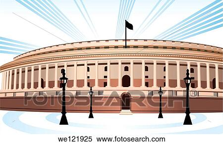 Stock Image of Facade of a government building, Sansad ...