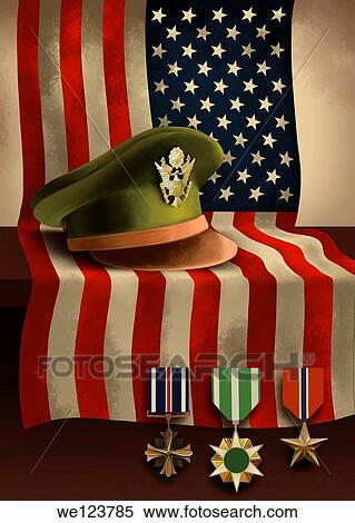 Stock Image of Illustrative image of American flag with medals and ...
