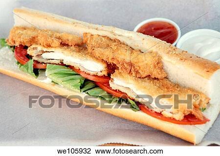 Sandwich de poitrine de poulet frit