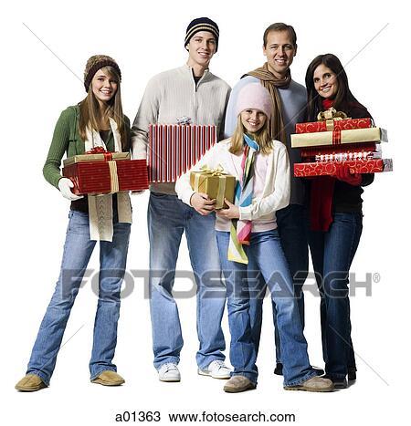 stock foto familie portrait mit weihnachtsgeschenke. Black Bedroom Furniture Sets. Home Design Ideas