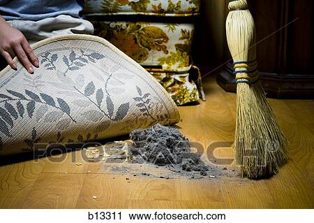 Stock Photography Of Sweeping Dirt Under Rug B13311