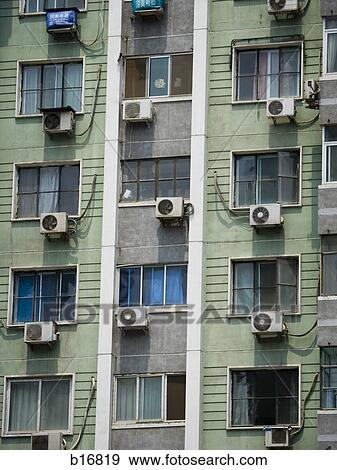 stock photograph of detailed view of windows in apartment