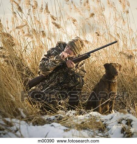 Stock photography of man and his dog duck hunting m00390 for Duck hunting mural