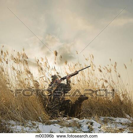 Stock photography of man and his dog duck hunting m00396b for Duck hunting mural