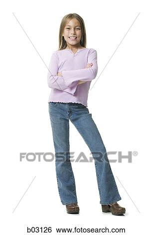 Stock Images of Portrait of a girl standing with her arms ...