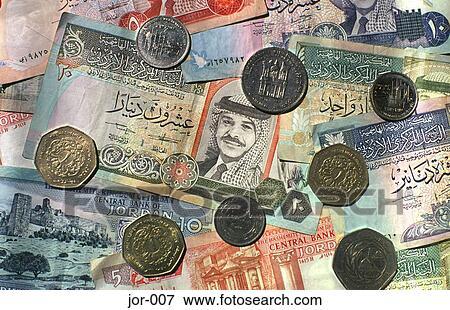图片 - 约旦人, 第纳尔, 硬币, 同时,, 纸币 jor-007
