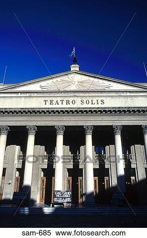 stock image of portico of theatro solis montevideo uruguay