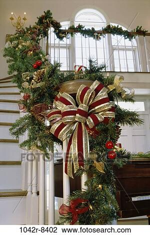 Stock photo of windows christmas residential architecture decorations staircase bow 1042r - Decoration escalier noel ...