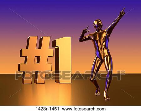 Stock Photography of #1 Block Letters with Golden Statue Figure ...