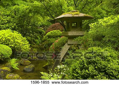 Stock Image of Stone lantern in a Japanese garden, Portland ...