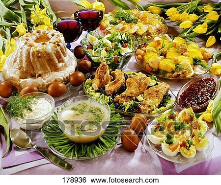 Stock Images of Polish Easter buffet with sweet and ...