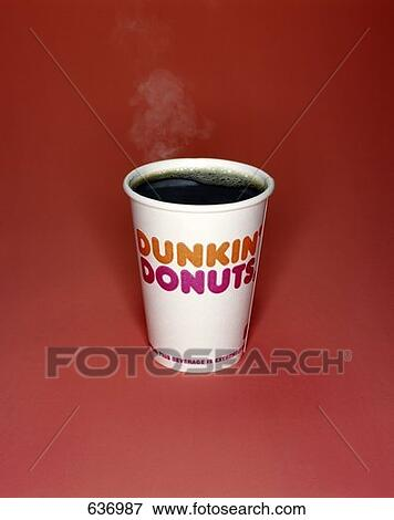 Picture of A Cup of Steaming, Black Dunkin Donuts Coffee ...