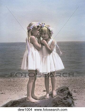 Stock Photo Of Two Little Girls Dressed In White Dresses