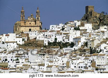Stock Photo of Spain. Andalucia. Olvera. One of the white towns of Andalucia ...
