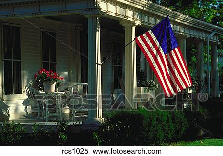 Front Porch Clipart stock image of traditional front porch of a house with an american