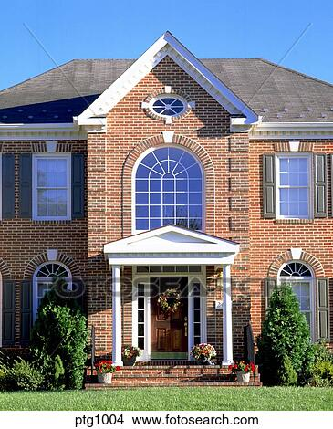 Stock Photo Of Exterior View Front Large Two Story Red Brick