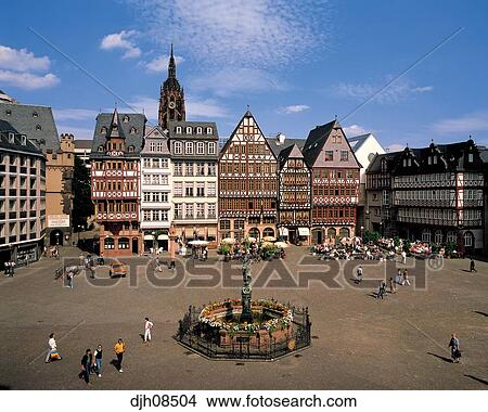 Stock Photo Of Romer Place And Dom Cathedral Frankfurt AM On - Frankfurt river