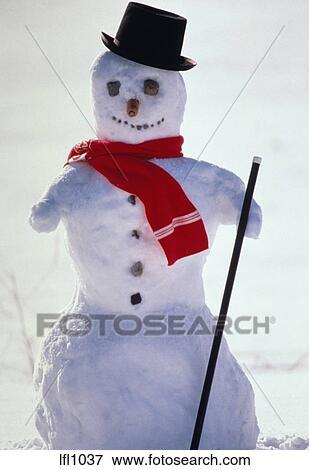 Image bonhomme de neige charpe chapeau et cane lfl1037 recherchez des photos des - Chapeau bonhomme de neige ...
