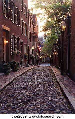 Stock Photograph of Acorn Street with old lamps on Beacon ...