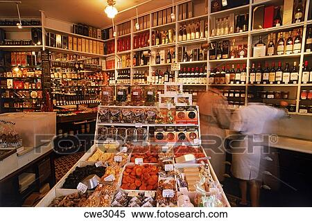 stock image of inside small epicerie or delicatessen in paris cwe3045 search stock photos. Black Bedroom Furniture Sets. Home Design Ideas