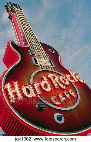 Stock Photo Of Guitar Shaped Sign Outside Hard Rock Hotel