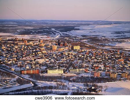 stock bilder luftaufnahme von kiruna in schwedische lappland oben n rdlicher polarkreis. Black Bedroom Furniture Sets. Home Design Ideas