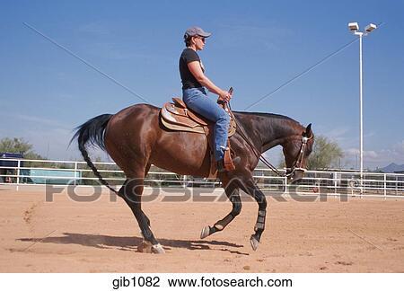 Stock Photo Of Female Horse Trainer Riding Horseback