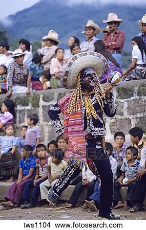 Mexican costumes dances under volcano, San Pedro La Laguna, Guatemala