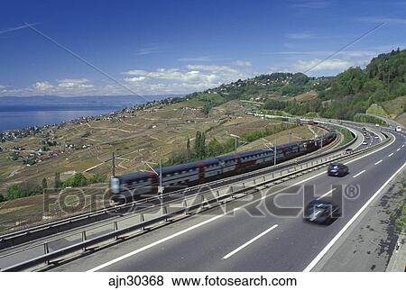 images suisse vaud lavaux lac gen ve europe autoroute et ligne train course par les. Black Bedroom Furniture Sets. Home Design Ideas