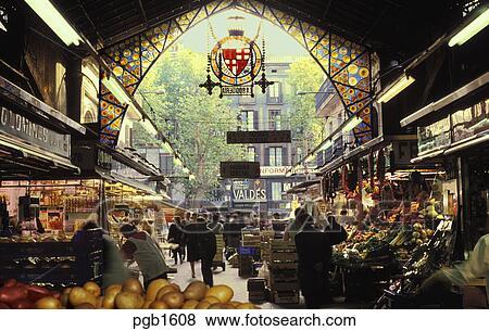 Pictures of Spain. Barcelona. Market La Boqueria, St. Josep fruit, vegetable ...
