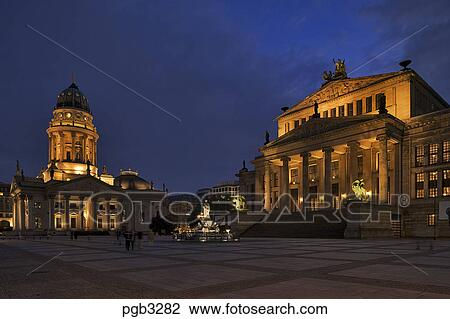 stock photo of berlin germany gendarmenmarkt schauspielhaus and deutsche dom evening. Black Bedroom Furniture Sets. Home Design Ideas