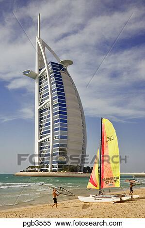 Stock image of burj al arab hotel an icon of dubai built for Sail shaped hotel dubai