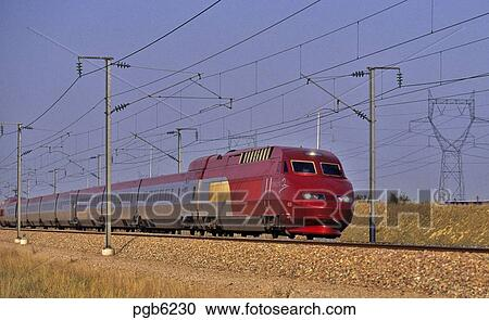 stock photography of thalys high speed train running between paris brussels and amsterdam. Black Bedroom Furniture Sets. Home Design Ideas