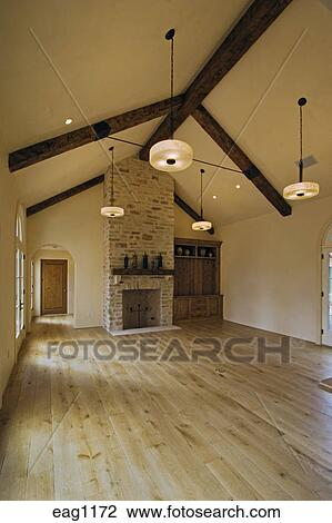 Stock Photo Of Hard Wood Floor Stone Fireplace Built In