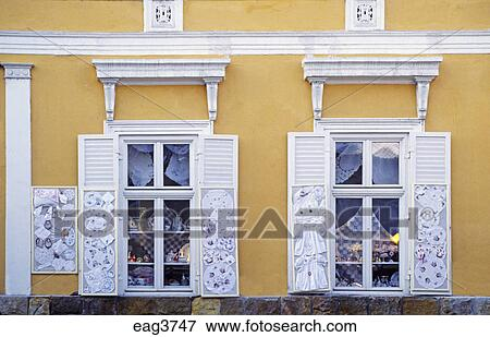 Picture of Shop window with local embroidery work in the BALKAN ...