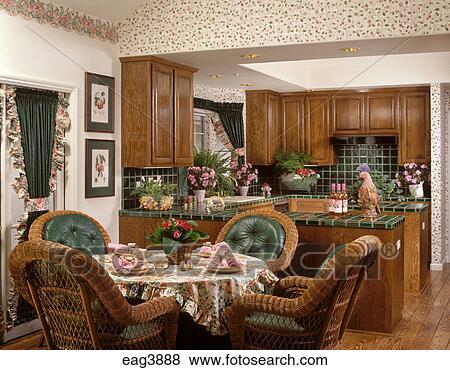 Images cuisine salle manger osier chaises vert for Salle a manger osier