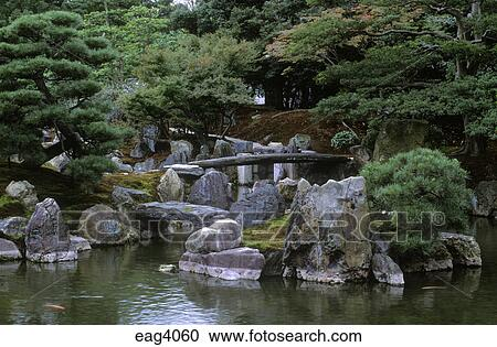 Stock Photography   CRANE ISLAND In The CLASSICAL JAPANESE GARDEN On The  Grounds Of NIJO CASTLE