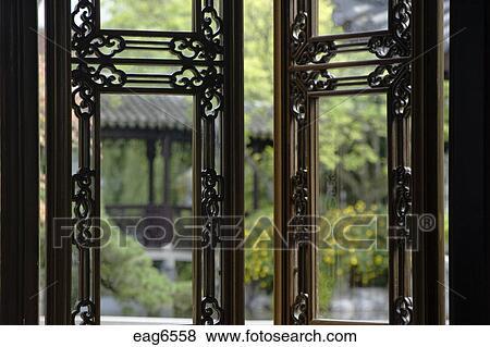Beelden latwerk houten vensters op de thee huis in de portland klassiek chinees - Latwerk houten ...