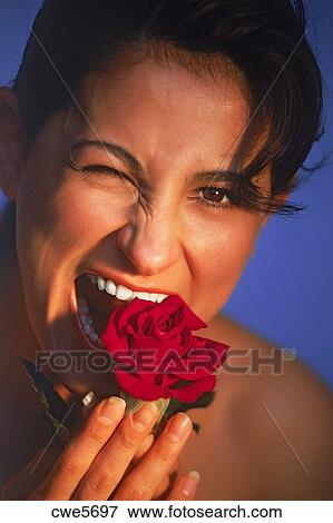 lady eating red