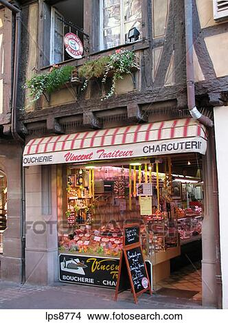 banque de photo vincent porc charcutier et picerie fine magasin colmar alsace france. Black Bedroom Furniture Sets. Home Design Ideas