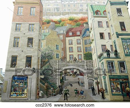 Stock images of canada quebec quebec city the mural of for Mural quebec city