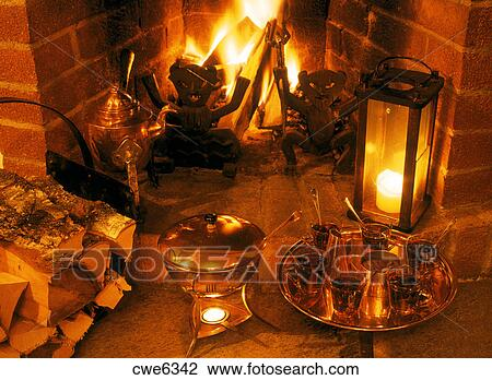 Stock Photo Of Warm Fireplace And Warm Gl Gg For Cold