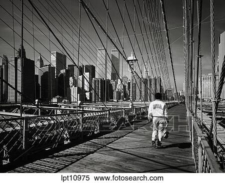Walk Along New York S Brooklyn Bridge Wallpaper Mural Wall ... Part 29