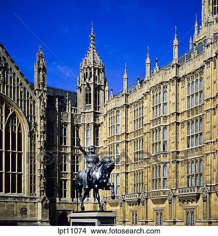 Stock Photo of HOUSE OF LORDS WITH EQUESTRIAN STATUE OF KING ...