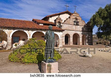 Stock Image Of Father Serra Statue Mission San Antonio De Padua